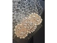 Birdcage Veil together with pearl headcomb