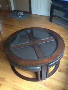 5 piece coffee table and stool set