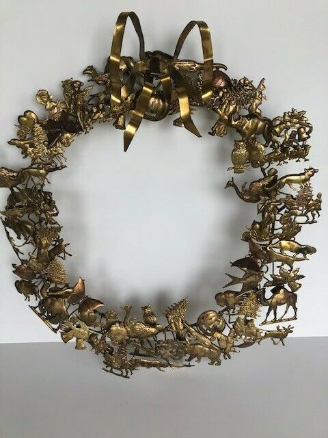 Animals Dresden Petites Choses Brass Holiday Christmas Unique Fine Large Wreath