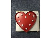 Retro Red Heart Wall Light New Boxed