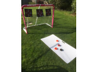 Inline roller hockey practice goal and slide board