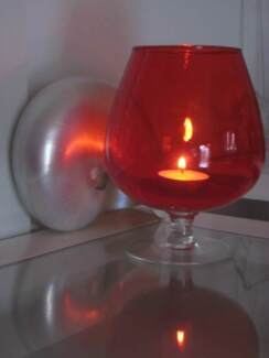 Vintage Scarlet Flame Red Blown Art Glass Brandy Balloon Vase
