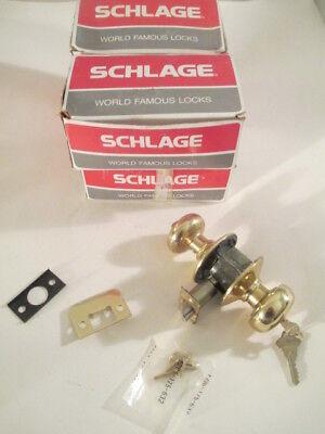 Lot Of 4 - Schlage F51 Ply 605 Keyed Entrance Locks Brass New
