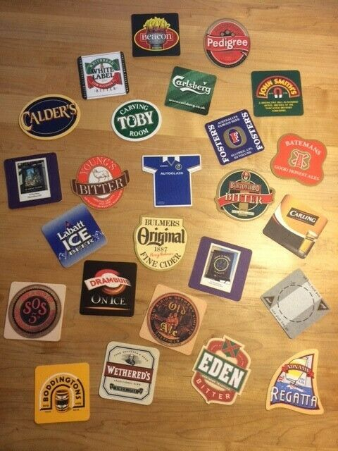 Lot of 25 Various Unique Collectable Cardboard Beer Bar Pub Coasters