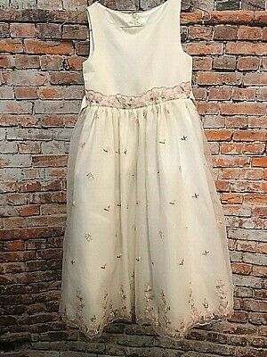 Designer Cinderella Embroidered Floral Girl's Party Communion Flower Dress, Sz 7