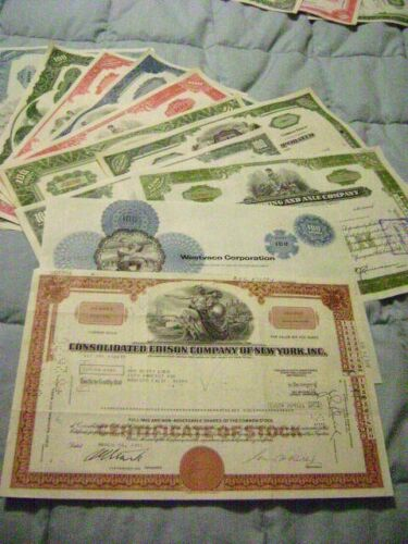 Lot of 16 Stock Certificates All different, Ready to frame and display
