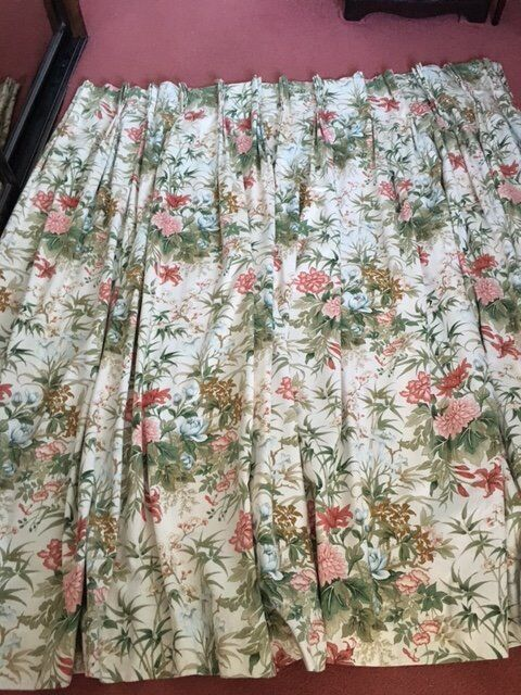 A pair of curtains, double pinch pleat, lined to fit window 8 feet ...
