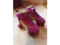Rio Roller Skates - size 4 - hardly used - excellent condition with shin pads
