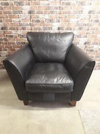 SINGLE BLACK LEATHER ARM CHAIR - £60 EXCELLENT CONDITION