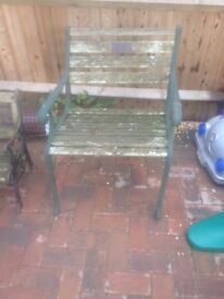 Iron and wood garden chair for restoration