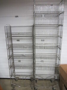 Utility Store Storage Rolling 8 Baskets on Wheels 2 Units