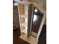 Shelf and mirror, rustic appearance, painted in cream and grey
