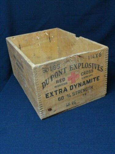 Rare Vintage Dupont Explosives Extra Dynamite Wood Wooden Case Crate Box