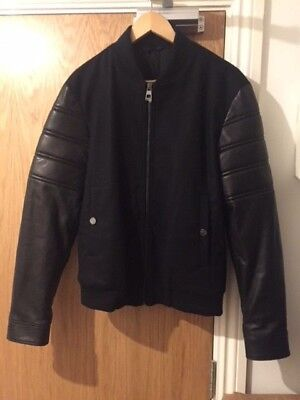VERSACE COLLECTION Leather-Sleeve Varsity Wool-Blend Jacket - UK 36/IT 46/S