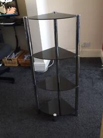 Dark smoked glass 4 shelf unit