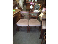Adorable Pair of Antique Regency Mahogany Carved Back Side/Parlour Chairs