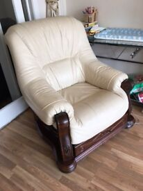2 Leather sofa chairs with draws and pouf
