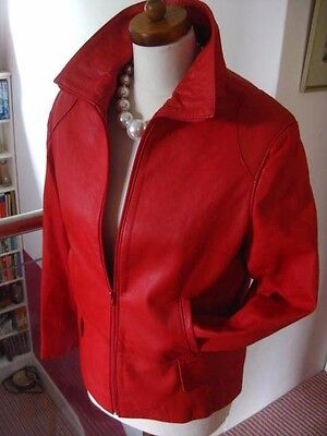 Ladies VINTAGE red leather JACKET COAT size UK 12 10 flight bomber biker M&S
