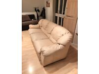 white leather sofa/couch (good condition, very comfy)