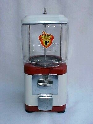 Vintage Tom's Peanut 1 Cent Acorn, Oak Gumball / Peanut Machine, Lance Jar