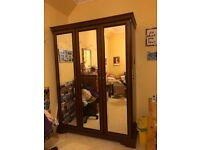 Large Three Door Stag Wardrobe with Mirrored Doors, good condition