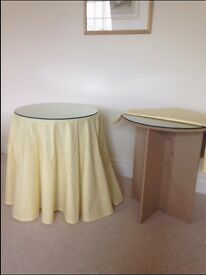 TWO ROUND GLASS TOPPED BEDSIDE/ DISPLAY TABLES