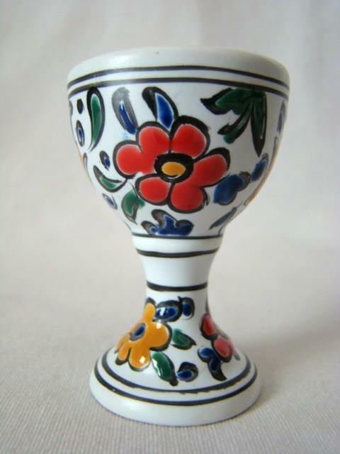Vintage Hand Painted Pottery Floral Footed EGG CUP, Raised Decoration, Italy