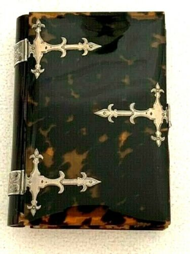 Antique 19c Faux Tortoiseshell and Silver Hymnal / Prayer Book