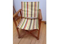 Two director chairs in unusual striped canvas.