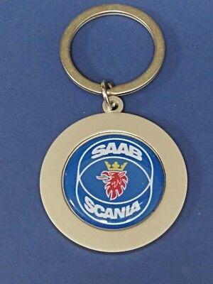 SAAB SCANIA #2 LOGO ROUND KEYRING SATIN NICKEL KEY RING CHAIN #286 DARK BLUE for sale  USA