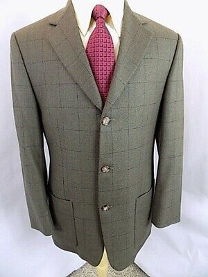 Burberry Men's Sport Coat Sz 40 R Olive Windowpane Blazer 3 Button Lined Jacket