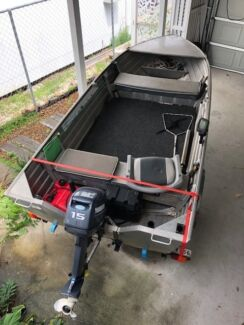 Stessl 3.75 Squire Tinny with Yamaha 15hp & trailer