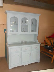 chalk painted, distressed, waxed, wood hutch, with crystal knobs London Ontario image 10