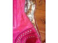 Cerise pink leather Guess handbag