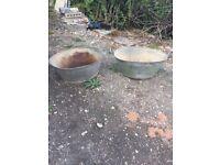 Pair of original vintage galvanised tin baths