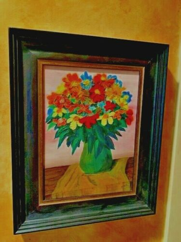 ESTATE ORIGINAL Floral Flowers Oil Painting Beautifully Carved Frame 11x14""