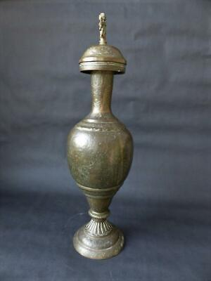 Antique Middle Eastern Brass, Lidded Baluster Vase, Figure Of Vishnu To The Lid