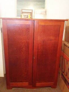 Antique Vintage Silky Oak Timber Wood Cabinet Cupboard