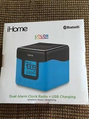 NEW iHome Color Changing Bluetooth Dual Alarm Clock USB Charging Wireless  IBT28