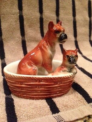 Vintage Porcelain Momma Boxer with Puppy in Basket