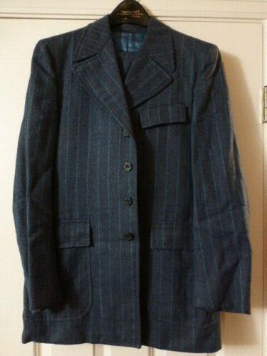 Vintage Suit Blue Striped Men