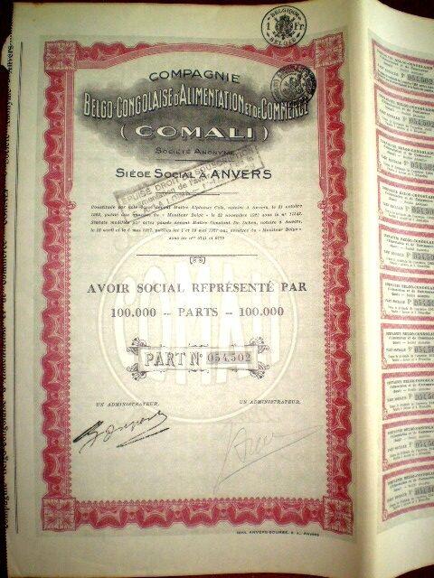 Belgo Congolaise d´Alimentation et Commerce,share certificate 1927 COMALI