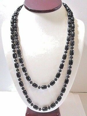 LONG BLACK VINTAGE PLASTIC NECKLACE SHAPES 1970'S MIDCENTURY FASHION VERSATILE