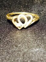 **REDUCED** 10K White Yellow Solid gold Heart ring with Diamond