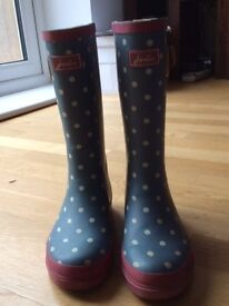 Little Joule Spot Wellingtons, Pale Blue/White, size 2