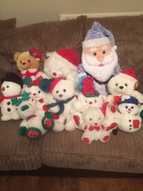 Selection of Christmas soft toys