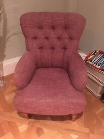 Beautiful raspberry pink armchairs (2) in immaculate condition - Potters Bar