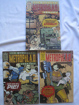 METROPOL A.D. : COMPLETE 3 ISSUE SERIES by TED McKEEVER. MARVEL / EPIC. 1992