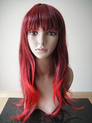 Halloween Damen Rot Kastanienbraun Perücke Cosplay Wellen Haar Kostüm