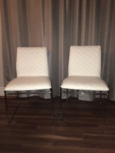 2 White Leather Dining Chairs